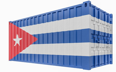 3D Illustration of Cargo Container with Cuba Flag