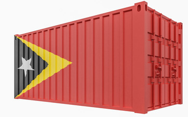 3D Illustration of Cargo Container with East Timor Flag