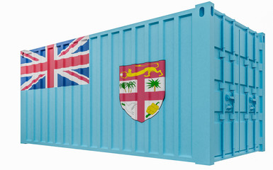 3D Illustration of Cargo Container with Fiji Flag