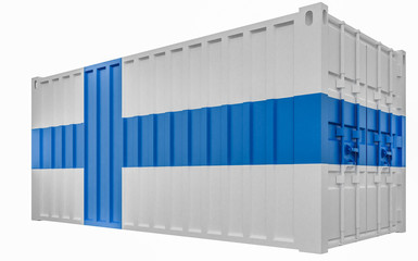 3D Illustration of Cargo Container with Finland Flag