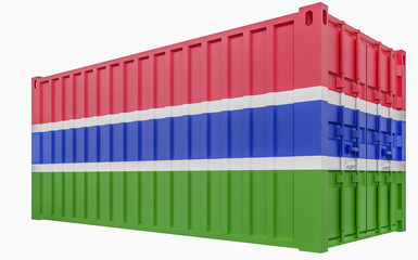3D Illustration of Cargo Container with Gambia Flag