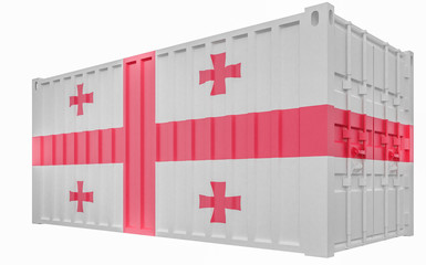 3D Illustration of Cargo Container with Georgia Flag