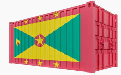 3D Illustration of Cargo Container with Grenada Flag