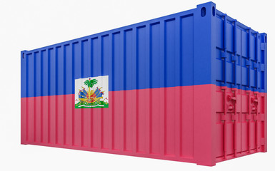 3D Illustration of Cargo Container with Haiti Flag