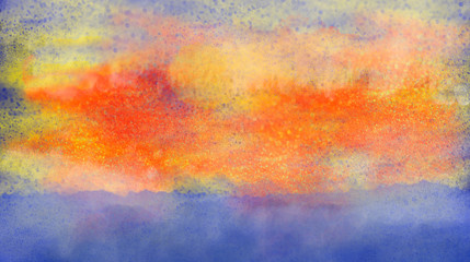 Expressionistic watercolor scenery landscape with red yellow and orange sky and deep blue water. Computer generated illustration with copy space.