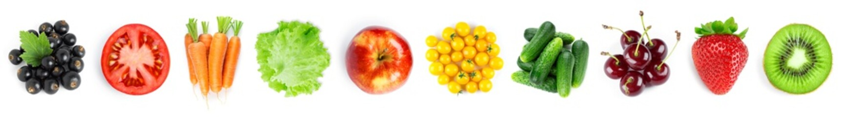 Foto op Plexiglas Keuken Collection of fruits and vegetables on white background. Top view