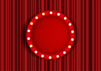 Theater performance banner, talent day festival curtain chalkboard vector illustration Vector stock illustration. A theater stage with a red curtain.