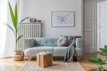 Stylish scandinavian living room interior with design mint sofa, furnitures, mock up poster map,...