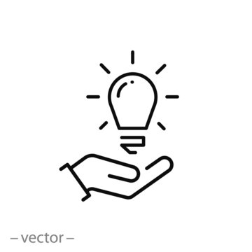 lightbulb on the hand icon, innovation technology concept, knowledge power, thin line web symbol on white background - editable stroke vector illustration eps10