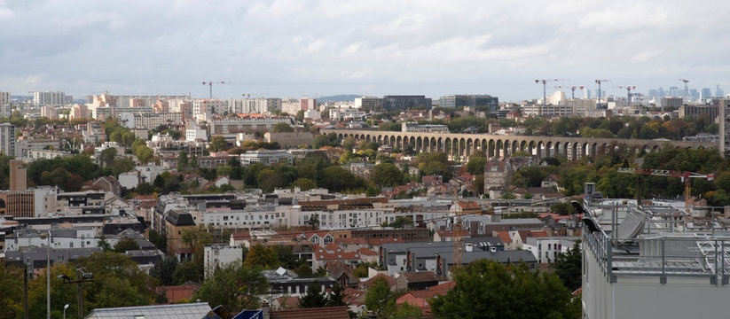 Panoramic view of the city of Cachan, a suburb of Paris