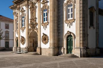 Entrance to Santuario de Nossa Senhora dos Remedios at the top of the baroque staircase above Lamego in Portugal