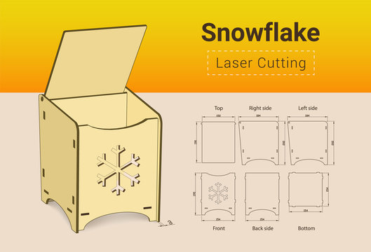 CNC. Laser cutting box. Laser cut. No glue need. For 3 mm plywood. Size 195x154x184 mm. Merry christmass box. Happy New Year box.
