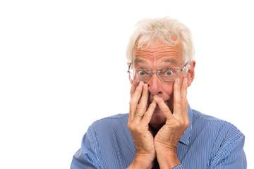 Portrait senior man surprised