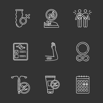 Safe sex chalk icons set. Condom. Sober intercourse. Masturbation. Sex test. Contraceptive implant, ring. Intrauterine device. Spermicide. Calendar method. Isolated vector chalkboard illustrations