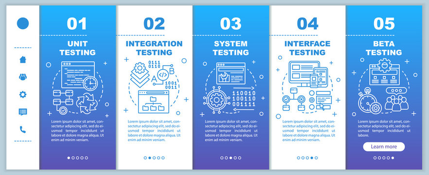 Functional software testing blue onboarding mobile web pages vector template. Responsive smartphone website interface idea with linear illustrations. Webpage walkthrough step screens. Color concept