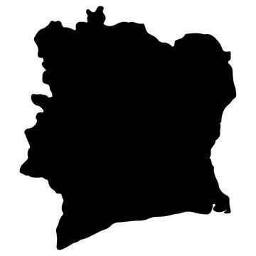 Cote d'Ivoire map silhouette vector illustration Eps 10
