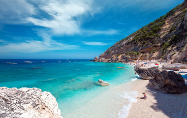 Cala Mariolu famous beach in Sardinia, on a clear day - Nuoro province National Park of the Bay of Orosei and Gennargentu Cala Mariolu