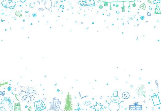 Hand drawn christmas pattern. Sketchy wallpaper with holiday xmas elements