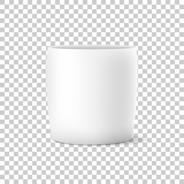 Vector of realistic isolated white flower pot on transparent background. Vector illustration.