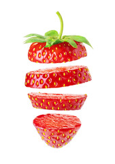 Wall Mural - sliced strawberry on white background
