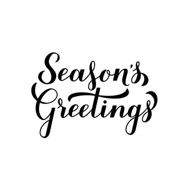 Season s Greetings calligraphy hand lettering isolated on white. Merry Christmas and Happy New Year typography poster. Easy to edit vector template for greeting card, banner, flayer, sticker, etc.