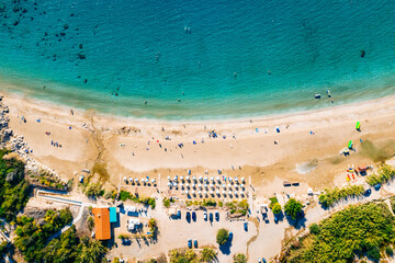 Fotobehang Cyprus Coral Bay Beach Aerial View. Famous Cyprus beautiful coastline with azure Mediterranean sea water and sandy beach, drone shot.