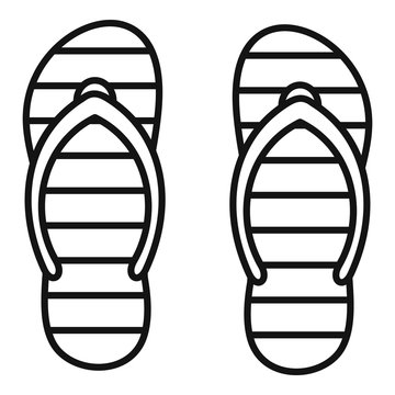 Beach slippers icon. Outline beach slippers vector icon for web design isolated on white background