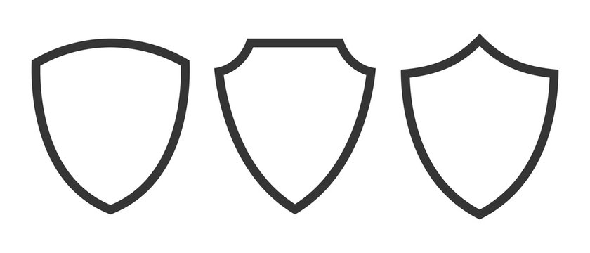 Set of vector Shield icons isolated.