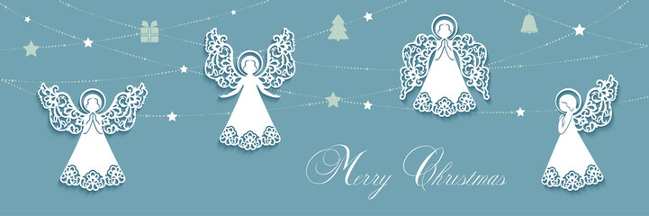 Merry Christmas card with angels and gifts on garland