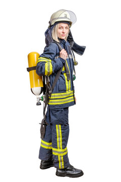 Young woman firefighter wearing uniform and helmet with air pack on her back isolated