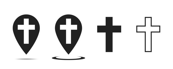 Christian cross vector sign. Pointer with cross inside. Church place. Vector collection. Isolated vector sign symbol. Design vector christian cross icon symbol.