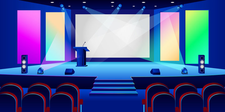 Conference hall interior. Empty white presentation screen in dark auditorium. Vector illustration