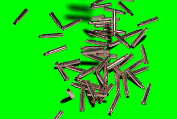 Shell Casings Falling Down on Green Screen (easy to key out) - 3D Illustration