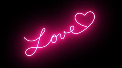 Neon Love Sign Writing in UHD Resolution - Illustration