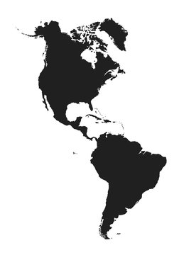 map of north and south america. isolated vector image of western world