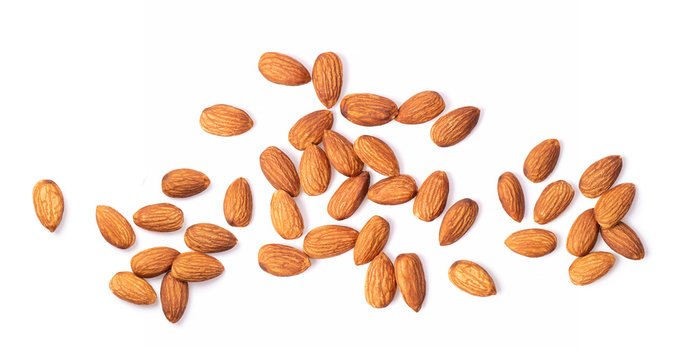 Almond Nuts isolated on white background top view