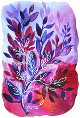 Abstract floral purple background with leaves