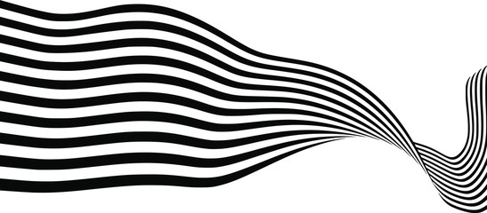 Abstract black and white stripes smoothly bent ribbon geometrical shape vector illustration isolated on white background Fototapete