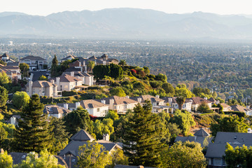 Hilltop San Fernando Valley view from the West Hills neighborhood in area of Los Angeles, California.   Wall mural