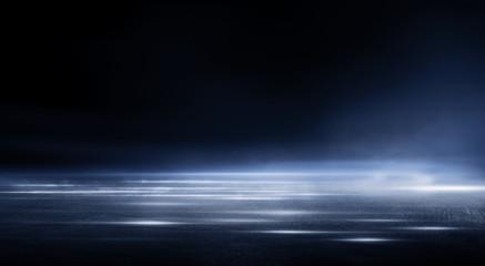 3D Rendering abstract dark night creative blurry outdoor asphalt background with mist light high speed