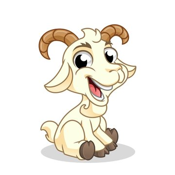Goat Sitting, Mammal Animal, Cartoon Vector Illustration Mascot, in Isolated White Background.