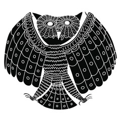 Silhouette of stylized owl with open wings. Ancient Peruvian tribal motif. Mochica or Moche pottery.  Black and white silhouette.