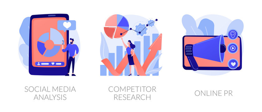 SMM analytics, audience segmentation. Product advertising strategy development. Social media analysis, competitor research, online PR metaphors. Vector isolated concept metaphor illustrations