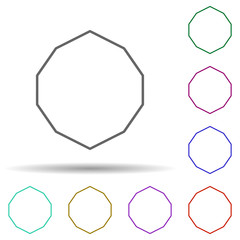 Decagon multi color icon. Simple thin line, outline vector of geometric figures icons for ui and ux, website or mobile application