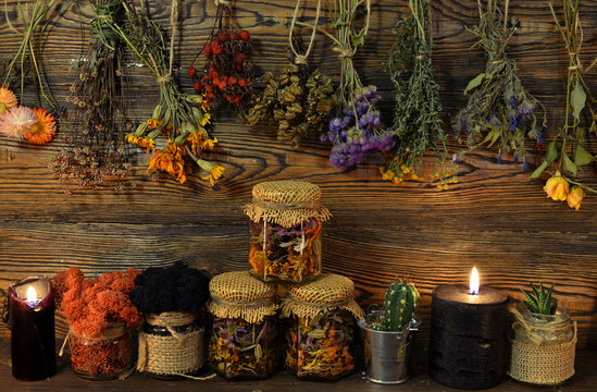 Still life with dry flowers and herbs, witch bottles, black candle and moss in jar.
