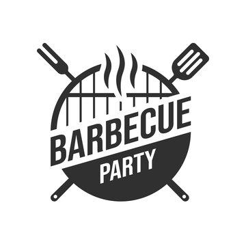 Barbecue and grill label. BBQ emblem and badge design. Restaurant menu logo template. Vector illustration.