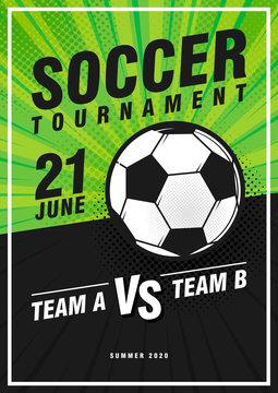 Soccer tournament retro pop art sports posters design. Vector illustration. Soccer flyer design template