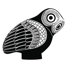 Photo Stands Owls cartoon Ancient Greek owl. Black and white silhouette. Sacred bird of goddess Athena. isolated vector illustration.
