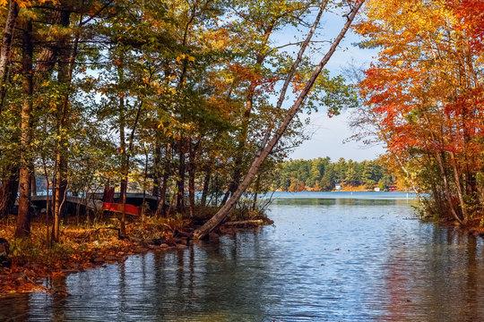 Chain o lakes , Waupaca Wisconsin in autumn