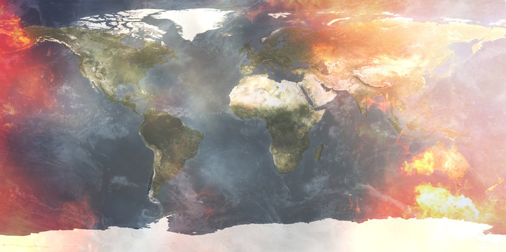 creative abstract fire and flames at world map 3d-illustration. elements of this image furnished by NASA